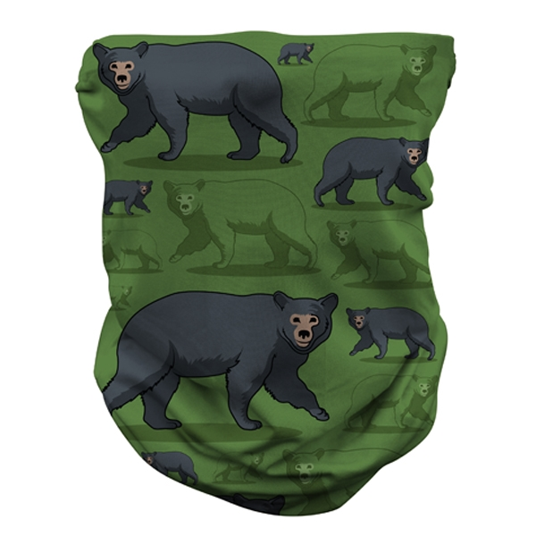 ADULT NECK GAITER BLACK BEAR PATTERN