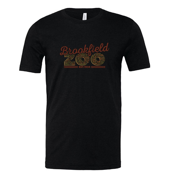 ADULT BROOKFIELD ZOO WORD CLOUD BLACK TEE