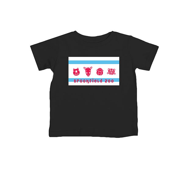 INFANT CHICAGO FLAG WITH ANIMALS TEE
