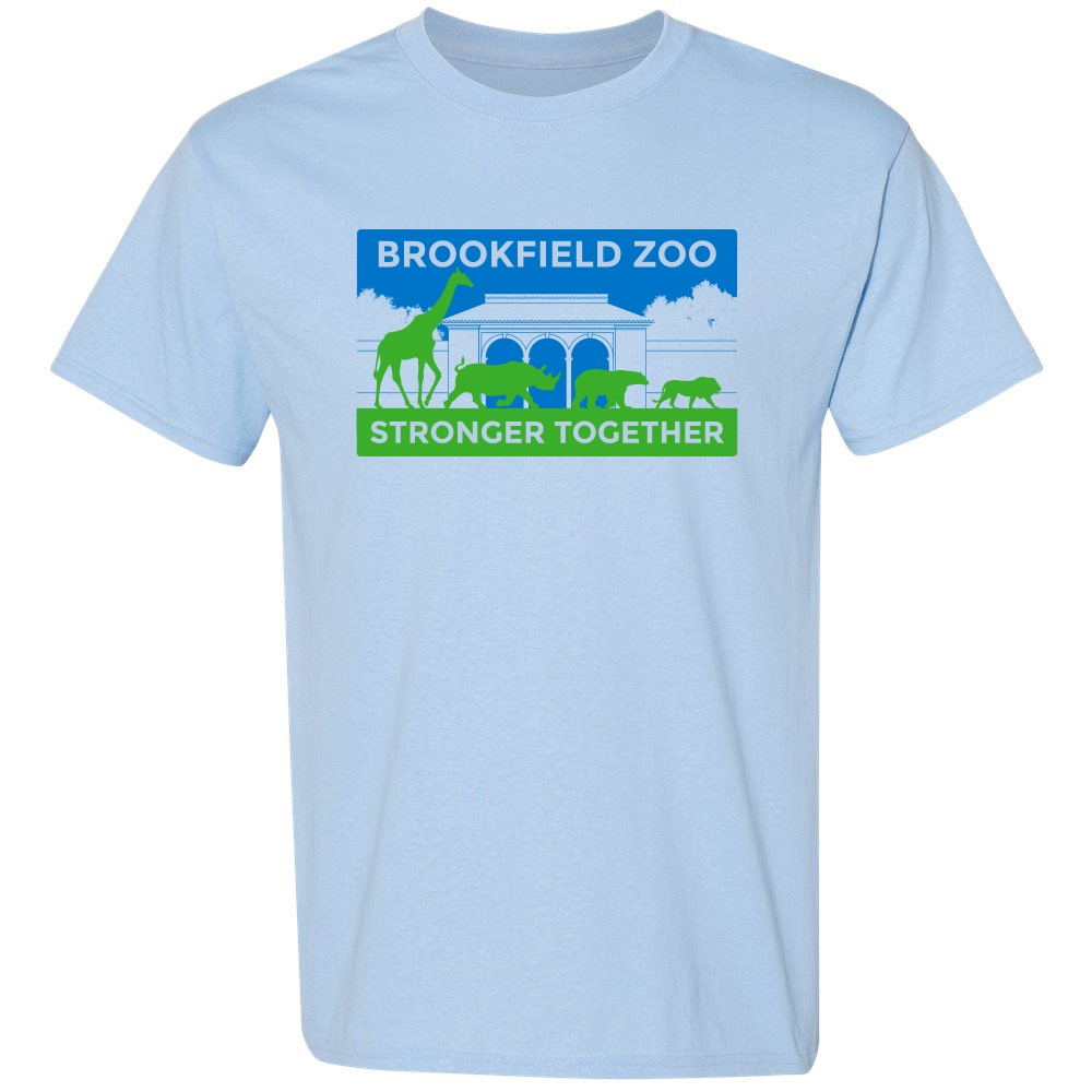 ADULT SHORT SLEEVE TEE BROOKFIELD ZOO STRONGER TOGETHER LIGHT BLUE